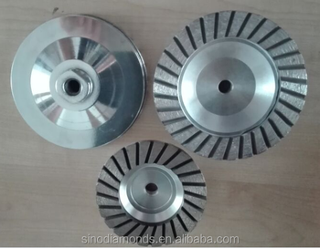 Aluminum based cup Wheels with turbo segments