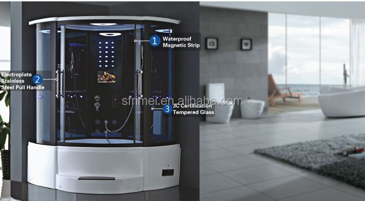 Guangzhou Kingsun Enclosed Steam Shower Room Whirpool Massage Cabin Bathtub