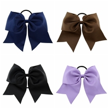 Large Solid Girls Cheerleading Hair Bow Grosgrain Ribbon Cheer Bow Elastic Band Ponytail Hair Holder For Girl Or Women