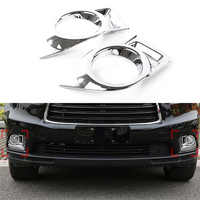 Car Chrome Exterior Accessories Daytime Running Light Fog Lamp Cover For Toyota Highlander 2014 2015 Chrome Decoration Trim