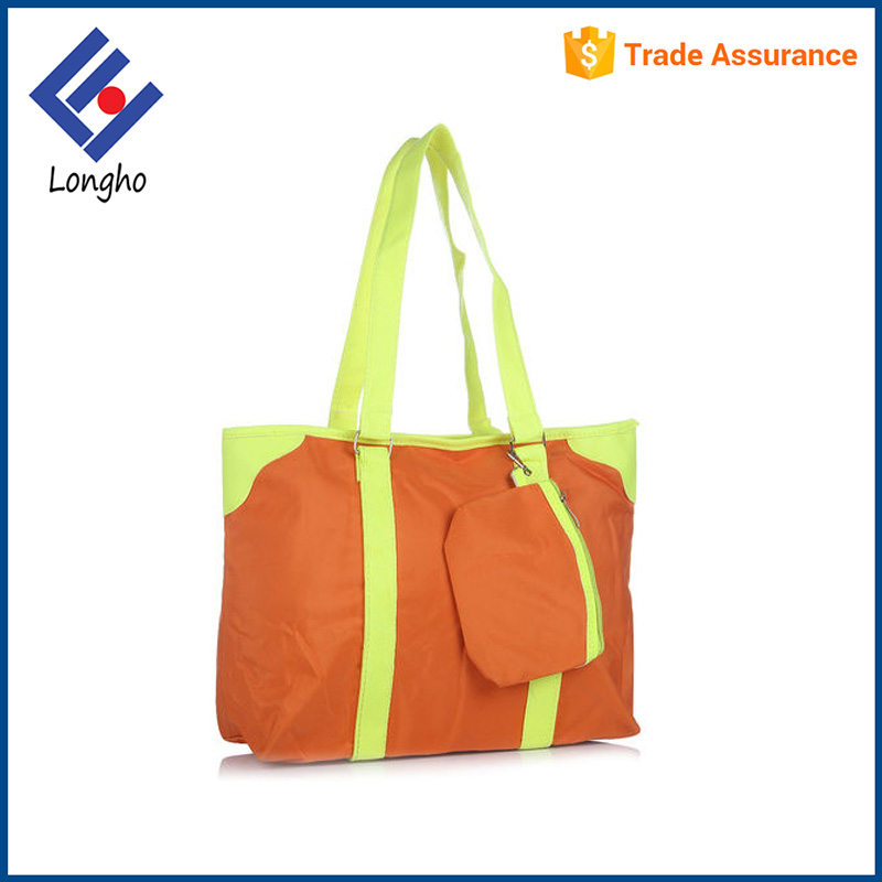 New products metal ring zippered tote bag detachable wallet orange women fashion shopping bag