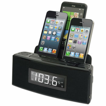 CR18 - 3 Port Smart Phone Charger with Speaker and Alarm Clock