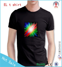 wholesale custom your own logo sound activated led t shirt with custom printing