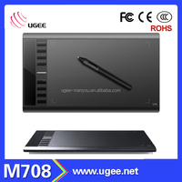Ugee M708 Graphics Digital Drawing Tablet with Big Active Area 10x6 inch/ Digital Wireless Pen/Hot Keys