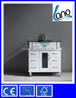 32 inch Modern White free-standing single sink bathroom vanity in Glass Vessel LN-S6130