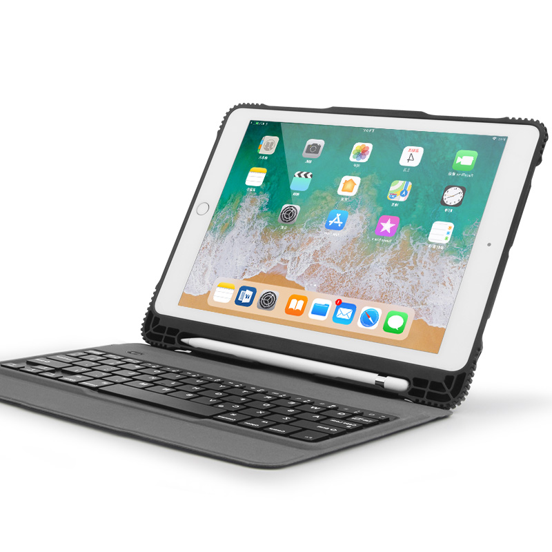 For New iPad 9.7 2018 Case With Stylus Holder, Portable Detachable Bluetooth Keyboard Stand Case