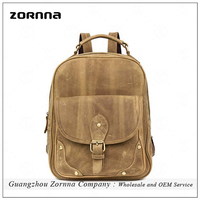 Zornna Crazy Horse Light Brown Color Durable Hippie Backpack Bags