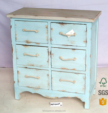 Hongwei Handmade White Shabby Chic Vintage Wood 6 Drawers Cabinet For Livingroom Wood Furniture