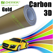 Gold auto tuning carbon fiber 3d film car wrapping vinyl roll