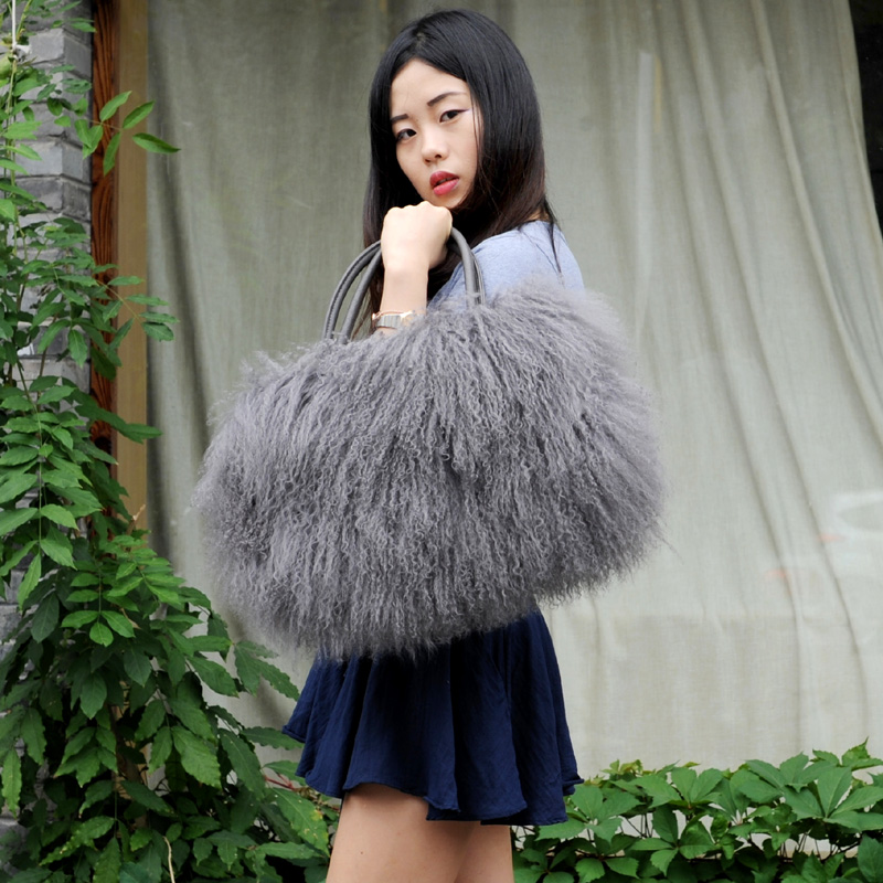 CX-H-24B Real Tibetan Lamb Fur Handbags Women <strong>Bag</strong> 2017