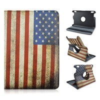 United States Flag Flip Turn Stand PU Leather Tablet Case For Amazon Kindle Fire 7 inch, 360 Rotating PC Cover