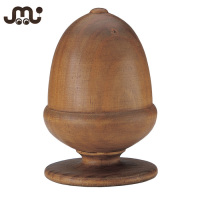 Natural carved wooden acorn curtain rod