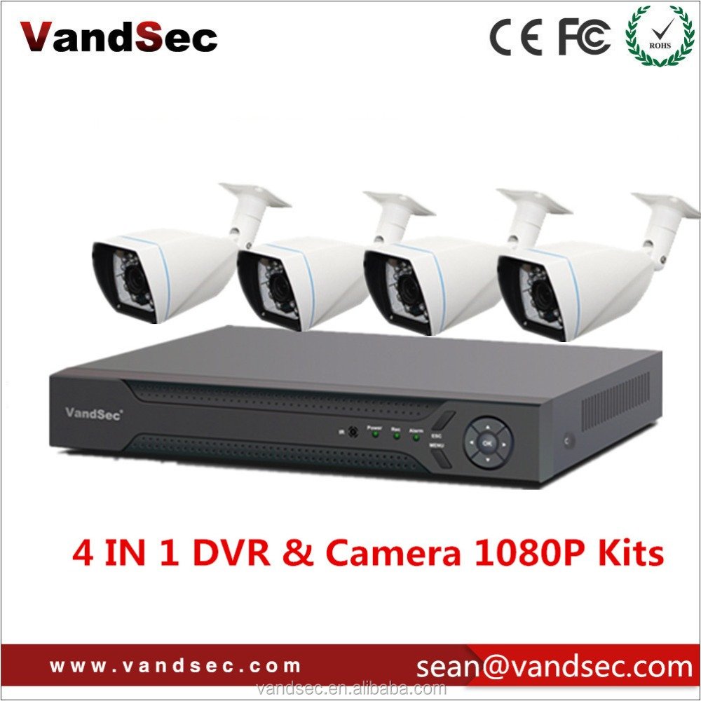 Vandsec Top10 AHD-H 4CH DVR Kit Home Security Camera System CCTV DVR Outdoor Bullet Analog AHD Camera System 1080P DVR Kit