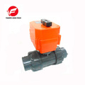 "CTF-001 DN40 1.5"" UPVC Double union threaded DC24V CR03 2 way Electric Ball Valve without manual override"