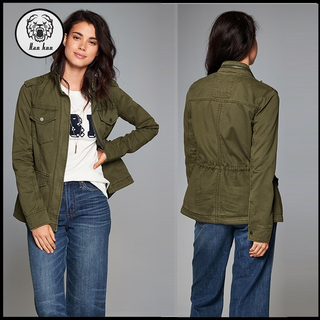 High quality women winter camouflage canvas jacket with pocket