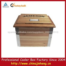 22L JAMESON on top wooden convenience store beverage wooden barrel cooler box with lid--logo printing available
