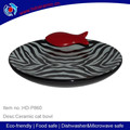 Oval shape dolomite cat bowl with black decal,Personalized ceramic lovely cat Bowl with red fish,animal shaped bowls