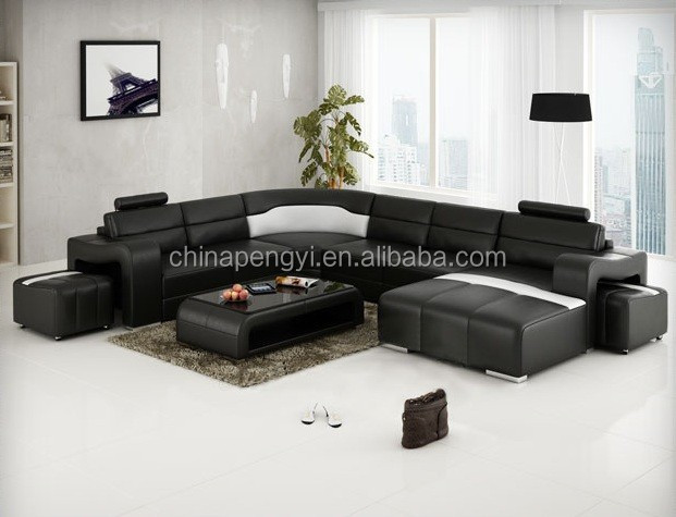 Original design big U shape modern leather couch sofa PY-V016A