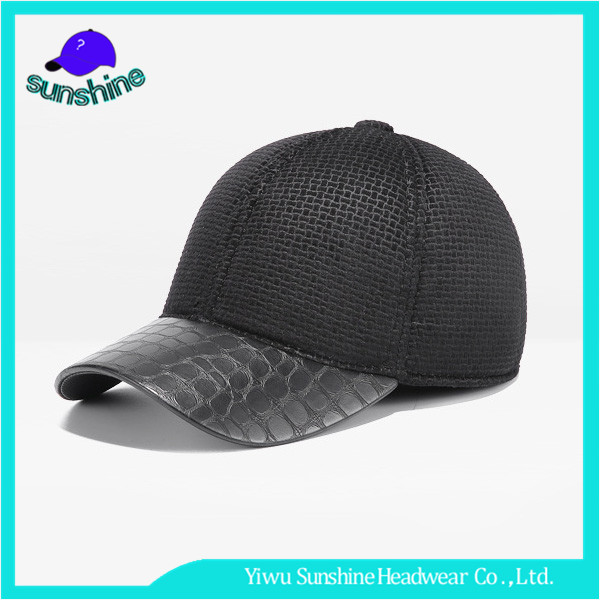 Wholesale Custom High Quality Leather Bill Baseball Cap adult plaid earflaps Hats