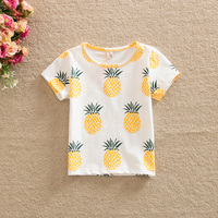 children clothing 2016 summer baby sweet pineapple printed cute boy girl cotton short-sleeved T-shirt of 80-120cm