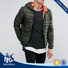 Guangzhou Trade Assurance Casual Latest Design Men Winter Down Feather Elastic Cuff Hem Hot Sale Fashion Camouflage Jacket