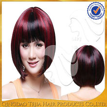 Wholesale cheap synthetic heat resistant fiber red wine short cosplay wigs with full bangs
