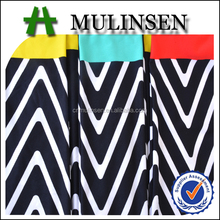 Mulinsen Textile Knitting DTY Black and White Striped Polyester Fabric