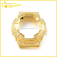 gold plated iced out cz replacement watch bezel