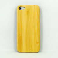 Genuine Bamboo Wood Backing Shell Case Cover with Durable Plastic Edges with Smoth Matte Finish for iPhone 5/5S P-IPH5HC052