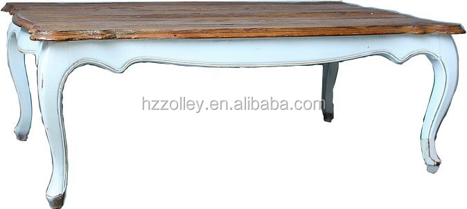 French stylish style oak wood antique long console coffee table