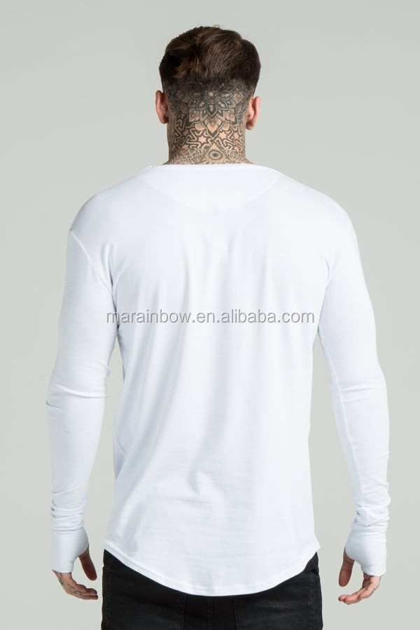 Undergarment Mens Long Sleeve T Shirt White 95% Cotton 5% Elastane Long Drop Curved Hem Tee