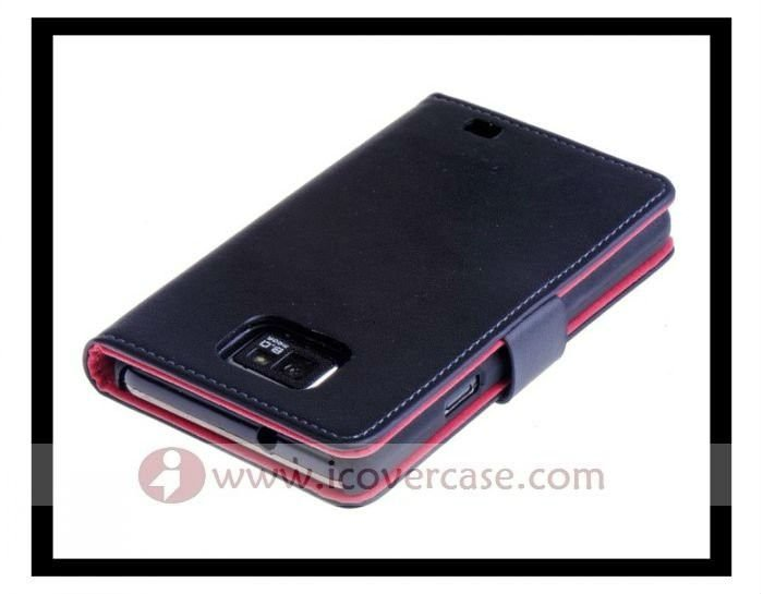 Real cowhide Leather ID card Wallet Case for Samsung galaxy s2 i9100