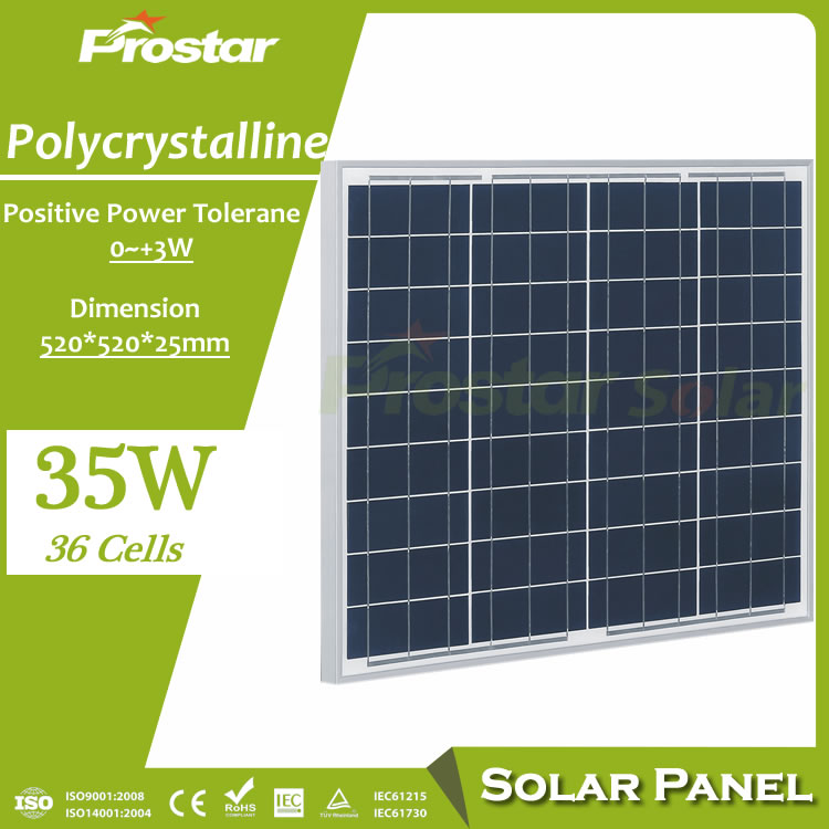 Prostar best price 12v solar panel 35w manufacturers in china for solar lights outdoor