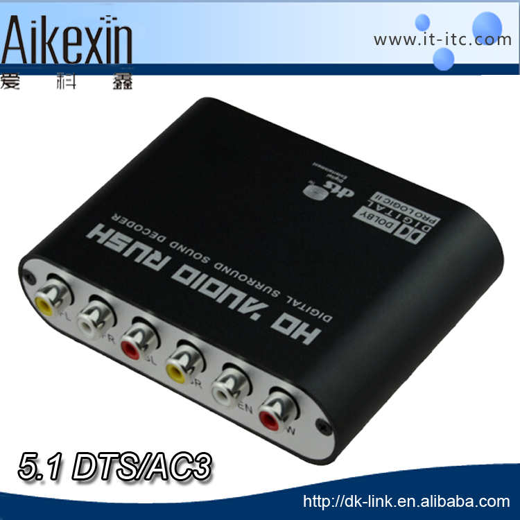 2 SPDIF Coaxial Digital to analog Audio Decoder support DTS/Db/AC3 / optical to 5.1