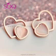 Double heart closely linked with tinsel jewel express sweet feeling girls amatory earring