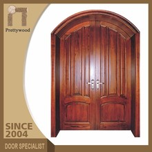 Exterior Double Solid Arch Shape Picture Simple Design Wood Door