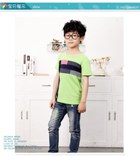 American style fashion O neck children boys organic t shirts short sleeve design 3307