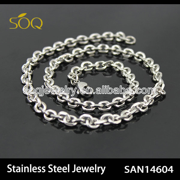 Fashionable Designs Long Silver Plated Stainless Steel Curb Chain Necklace Titanium Jewelry Men