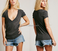 fashionable women deep v neck sexy t shirt, blank women t shirt wholesale, deep v neck t shirt