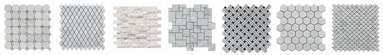 Italy Carrara White And China Wooden Gray Marble Basketwave Kitchen Mosaic Floor Tile