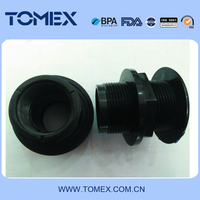 Male and Female Thread PVC Plastic Tank Fittings in black color
