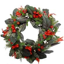 2017 New design Grapevine base Christmas wreath with Magnilia leaves, Cotton, big berry and pinecone