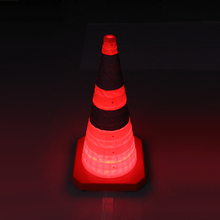 2017 New 29.5'' LED USB rechargeable flashing foldable safety traffic road cone