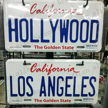 Los Angela Hollywood Tinplate Outdoor Decor Number Plate Metal Sign for Car