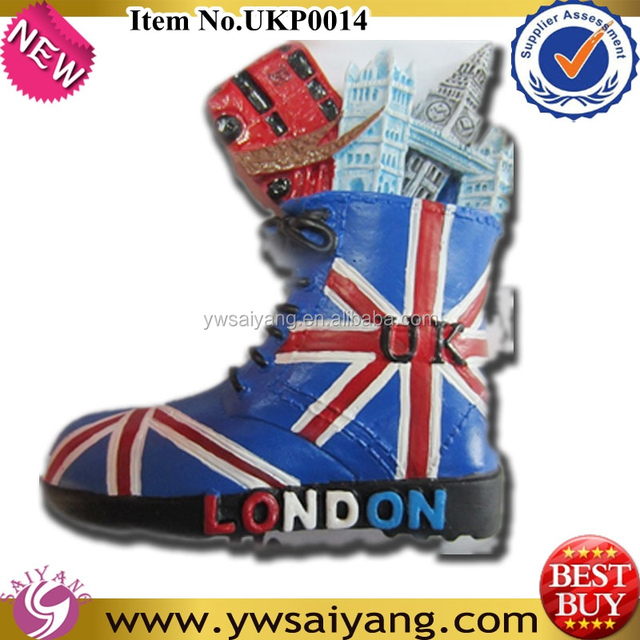 2014 New wholesale resin Fridge Magnets 2D New London Foot with Flag Eyes Souvenirs Promotional Gift
