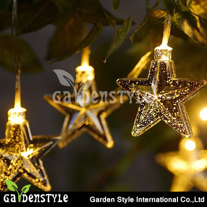 shiny star shape design warm color string light solar led hanging lamp