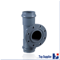 HJ best price PVC water supply pipe fittings three way two faucet one flange regular tee coupling