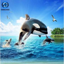 Picture 3d designs dolphins pattern seaworld ceramic tile 3d wall tile 3d porcelain tile