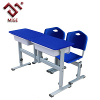 Blue Two Seats School Chair and Table Set