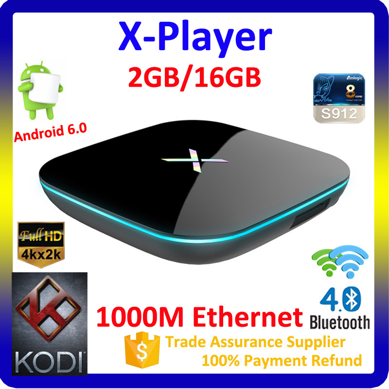 Movie Free Download X-Player 1000 Ethernet Wifi Bluetooth 4.0 Android 6.0 S912 HD Pron Videos Tv box Internet Free Pron